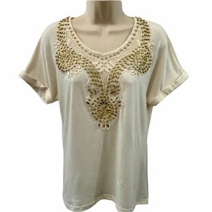 Dots Embellished Gold Cream Short Sleeve Top Small